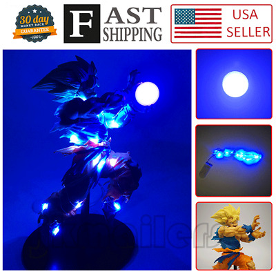 Anime Dragon Ball Z Super Saiyan Son Gokou Qigong Figure Set & 2 DIY LED Lamps