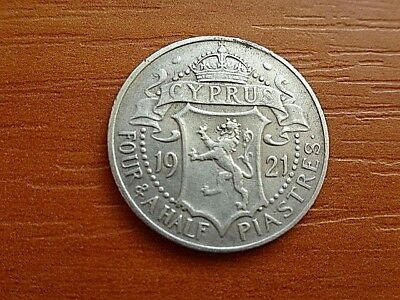 Cyprus Silver 4 1/2 Piastres 1921 King George V 1910-1936 AD Very Rare Coin