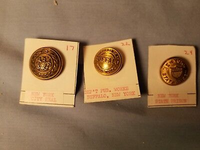 Antique Collectible Mixed Lot Of Metal Buttons From New York
