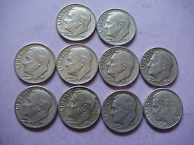 Lot of 10 Roosevelt  Dimes nice old coins 90% Silver   #9448