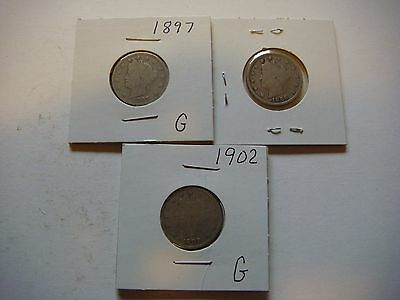 Lot of 3  Liberty Head Nickel - five cent Coins 1897, 1902, 1906, Nice   #9594