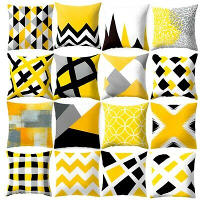 Yellow Cotton Linen Pillow Case Sofa Car Waist Throw Cushion Cover Home Decor
