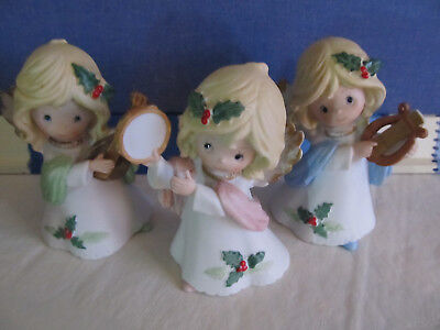 3 Christmas Angels musical instruments by Homco 5'' tall excellent cond.