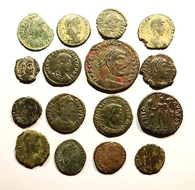 Lot Of 16 Imperial Roman Bronze Coins For Identifying - 067