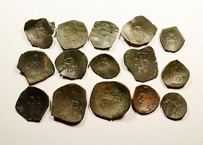 Lot Of 15 Ancient Byzantine Cup Coins - 038