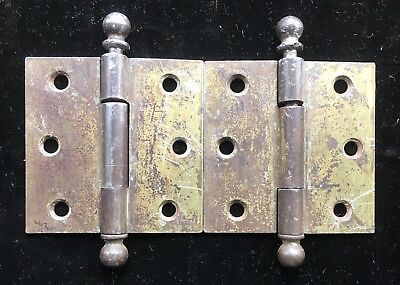 """Antique Rare Stanley 3"""" X 3"""" Door Hinge w Removable Pins Cannon ball finial Top"""
