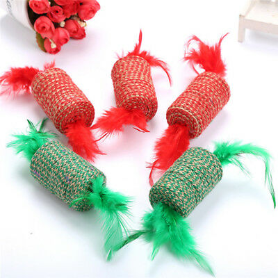 Cat Pet Sisal Rope Chase Feather Ball Kitten Play Scratch Rattle Toy Gift G