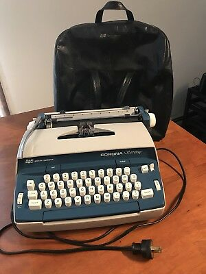 "Vintage Blue SC Smith-Corona ""Seventy"" Electric Typewriter Nice Original Shape"