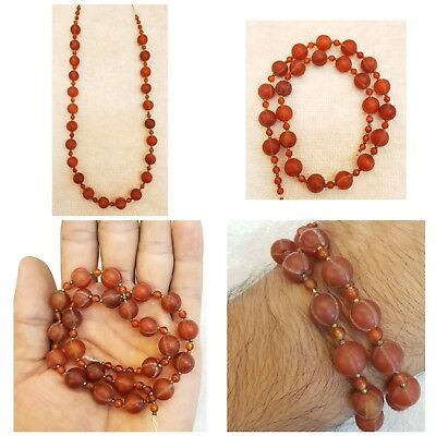 Beautiful Old Agate Pumkin Shape Round Stunning Beads Strand Old Necklace  # O45