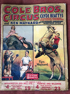 VINTAGE CIRCUS Courier Program COLE BROS 1938 - 4-COLOR CENTERFOLD