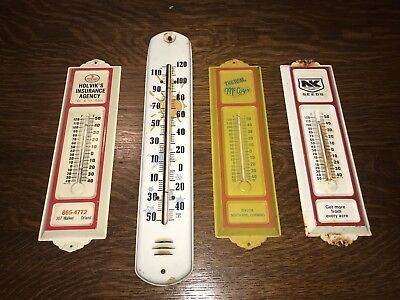 Vintage Rare Advertising Metal Thermometer Sign Lot Of 4- All Working-No Reserve
