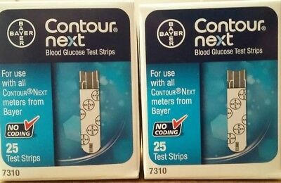 2 Bayer Contour Next Blood Glucose Test Strips 50 Total (25 Ct Each) Exp 3/31/19