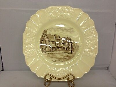 """Myott Son & CO Shakespeare's Birthplace Plate 8 3/4"""" Yellow"""
