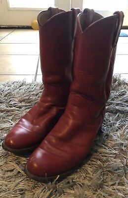 0b85c62086a JUSTIN BOOTS L3055 Red Leather Plain Toe Western Roper Boot Women s ...