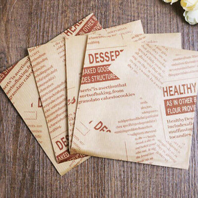 Vintage Newspaper Greaseproof Paper Bags Grease Proof Sandwich Bag Food G