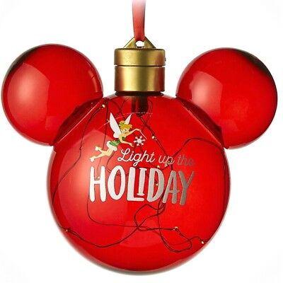 Tinker Bell Light Up Ornament Mickey Ear Icon Christmas Holiday Disney Parks NEW