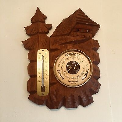 vintage German Black Forest wooden barometer
