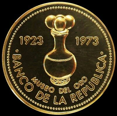 1973 Gold Colombia 1500 Pesos 19.1 Gram Central Bank Anniv. Coin Proof Condition