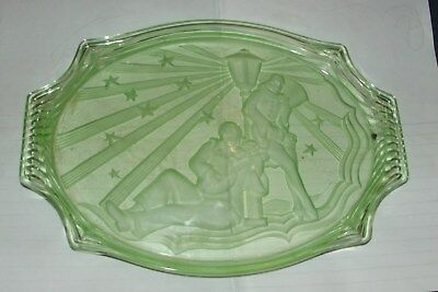 ART DECO WALTHER AND SOHNE URANIUM PIERROT AND PIERRETTE GLASS Tray PIERRETTE