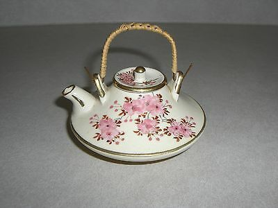 Signed Satsuma Miniature Sake Or Tea Pot, Cherry Blossoms Design