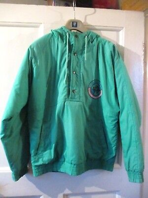 LITTLEWOODS VINTAGE / RETRO  GREEN  HOODED ANORAK SIZE 34 inch chest