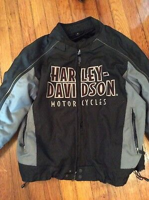 Great Mens Harley Davidson Riding Jacket Coat Gently Worn XL With Liner Canvas