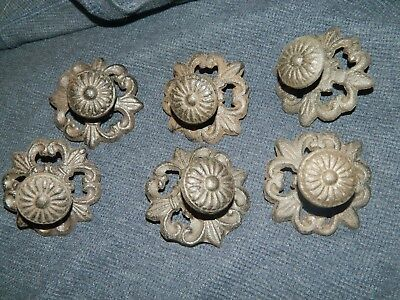 Set/6 Ornate French Style Drawer Round Pulls w/ Back Plate Nice