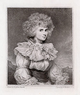 """Magnificent 1800s Joshua REYNOLDS Engraving """"Duchess of Devonshire"""" SIGNED COA"""