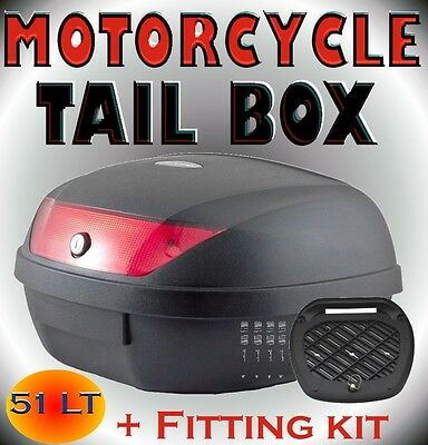 Large 51LT Universal Motorcycle Scooter Top Tail Box Rear Storage Luggage Black