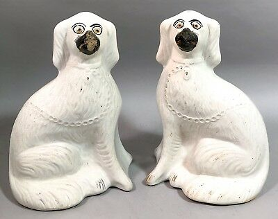 """Antique pair 2 tall Staffordshire Spaniel dogs matching mantle figurines 12.5"""""""
