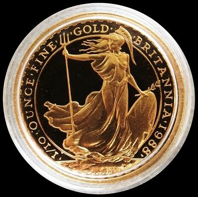 1988 Gold Great Britain 10 Pounds 1/10 Oz Britannia Coin Gem Proof Condition