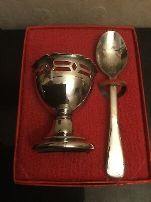 Vintage Silver Plated Egg Cup & Spoon Stored In Their Origional Box