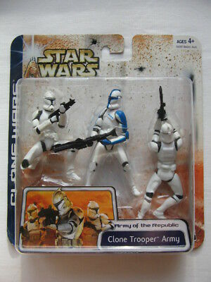 Star Wars CW - 3pack *** Clone Trooper Army Blue Variation *** Selten ***