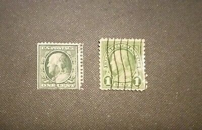 Set Of(2) Us Ben Franklin One Cent Postage Stamp Green Cancelled Rare