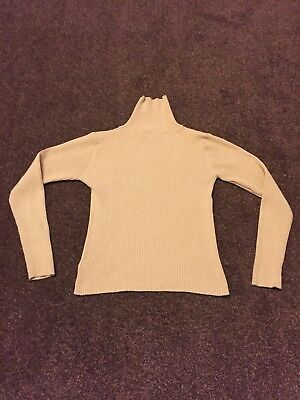 Girls Beige Next Polo Neck Ribbed Jumper - Age 12 Years