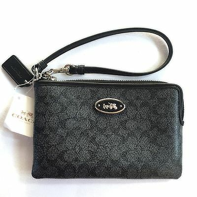 NWT COACH BLACK SIGNATURE WRISTLET AUTHENTIC #f52436