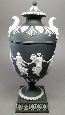 "Antique Wedgwood Black Basalt Dip Jasper Ware Dancing Hours 10"" Urn AS IS"