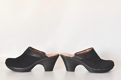 Sofft Black Leather and Suede Mules Womens Size US 7.5 Slip On Clogs / Shoes