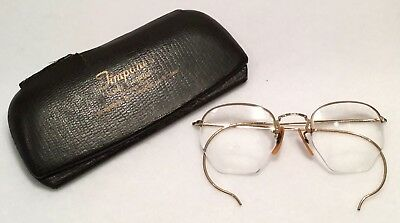 c.1940s BAUSCH & LOMB 1/10 12k Gold Filled Rimless ARTCRAFT Eyeglasses - EXC!