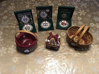 LONGABERGER Christmas Lot, Ornaments, Little Gifts & Melody Basket
