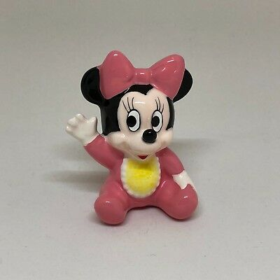 Disney Baby Pink Minnie Mouse Hand Painted Ceramic Porcelain Figurine