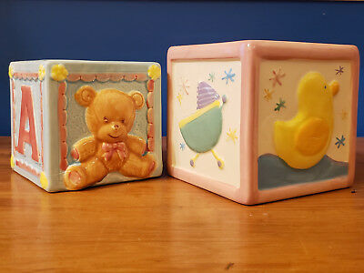 Baby Ceramic Baby Blocks, Shower Nursery Planter Vase