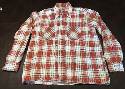 Murphy's Mens Pink Red Brown Plaid Cotton Flannel Shirt 1970s Size M Vintage