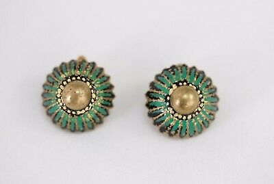Vintage 1930s Domed Clip On Earrings with Green and Black Enamel Art Deco