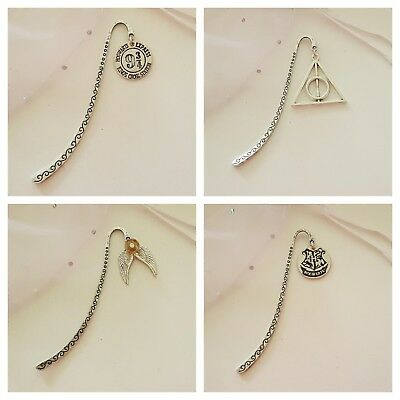 Harry potter themed silver metal book mark.... Different designs to choose from.