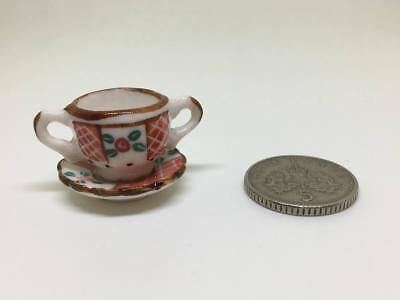Dolls House Miniature 1:12th Scale decorative patterned cup and matching saucer
