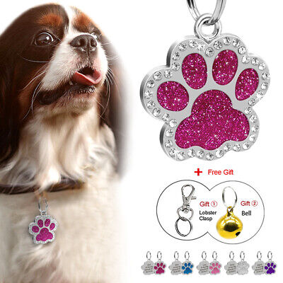 Glitter Paw Print Pet ID Tags Custom Engraved Dog Cat Tag Personalized with Gift