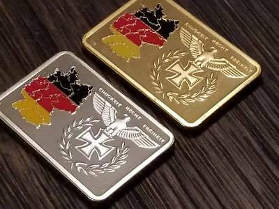 WW2 WWII German flag eagle Iron Cross gold silver clad bar collection