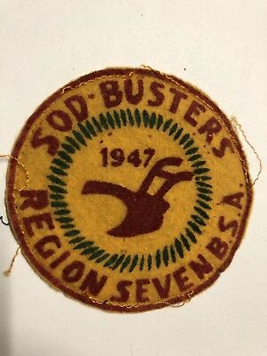 Rare Vintage 1947 BSA Sod Busters - Region Seven On Felt- Activity Patch 47 WJ