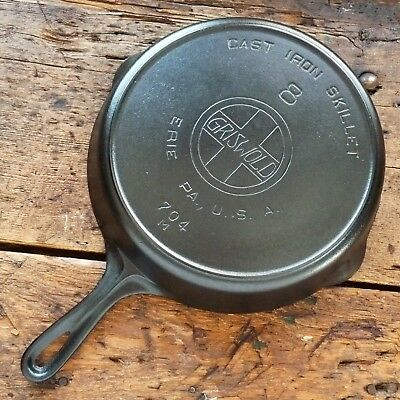 Antique GRISWOLD Cast Iron SKILLET Frying Pan # 8 LARGE SLANT LOGO - Ironspoon